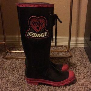 "Coach ""poppy love"" rain boots"